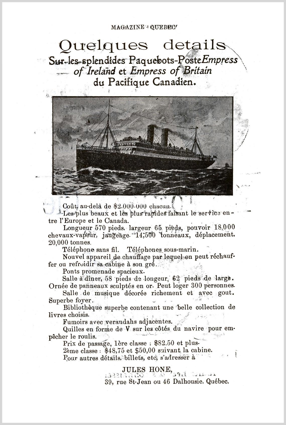 - Publicité No. 3 (Empress of Irland & Empress of Britain)